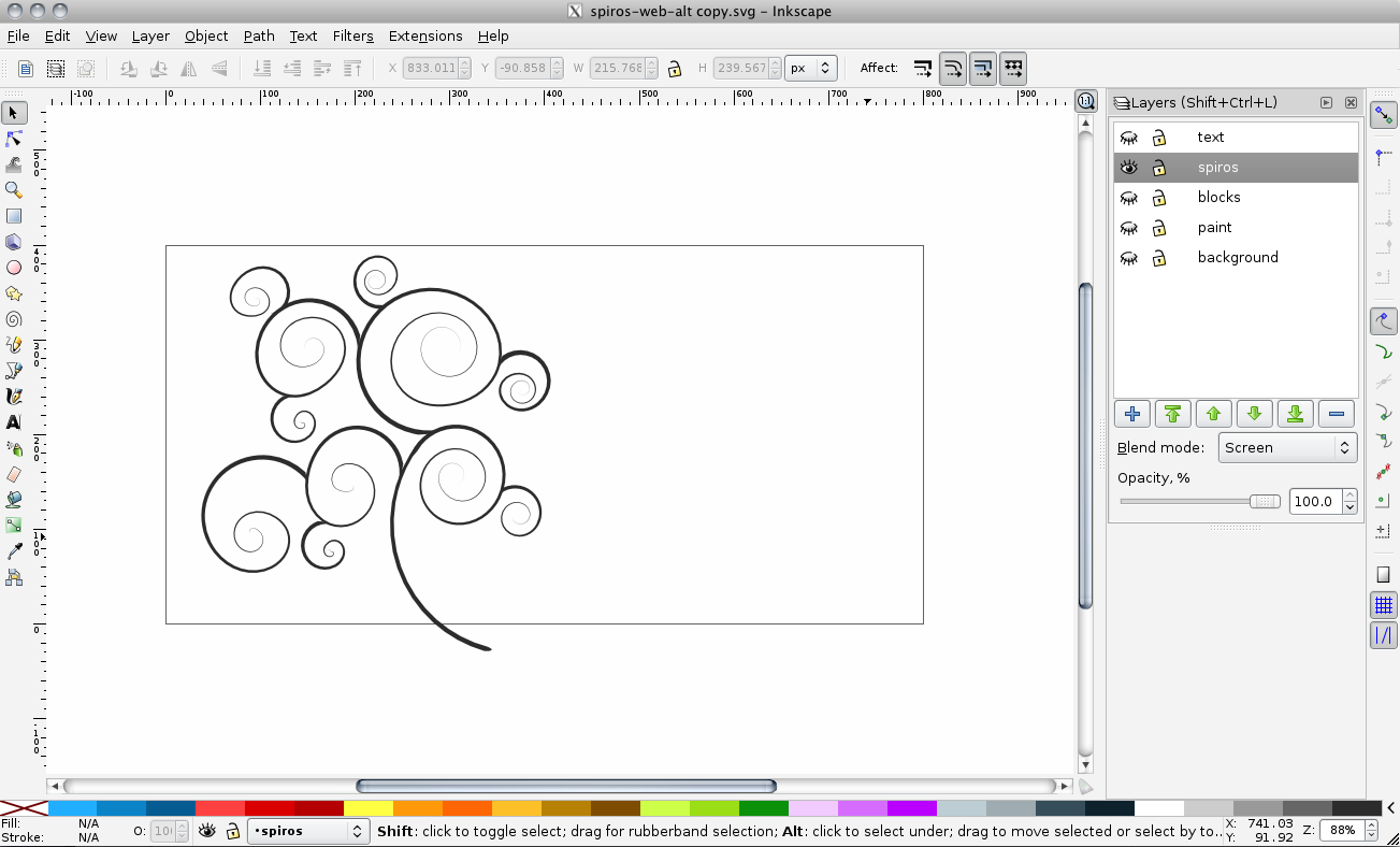 Drawing Lines With Inkscape : Using spiro splines in inkscape tucson labs