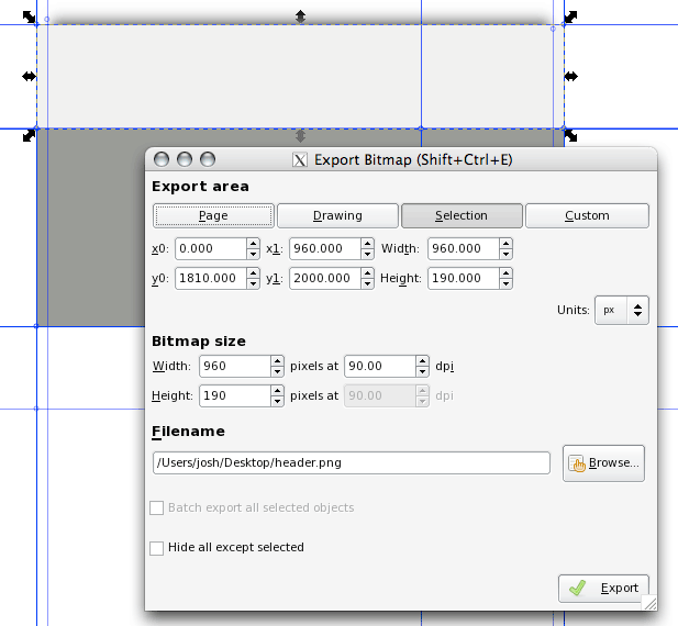 Exporting the header section.