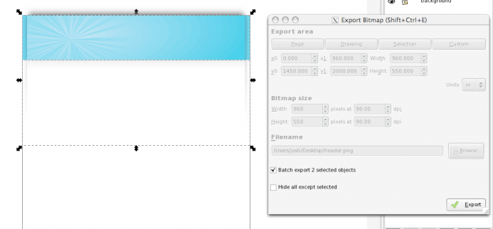 Batch export your background images.