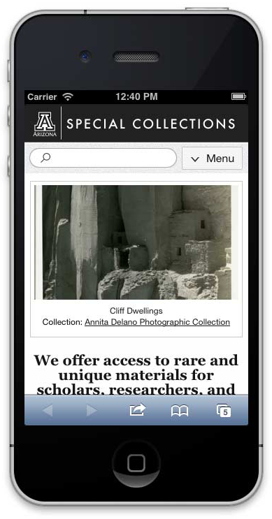 Final responsive website design for the Special Collections