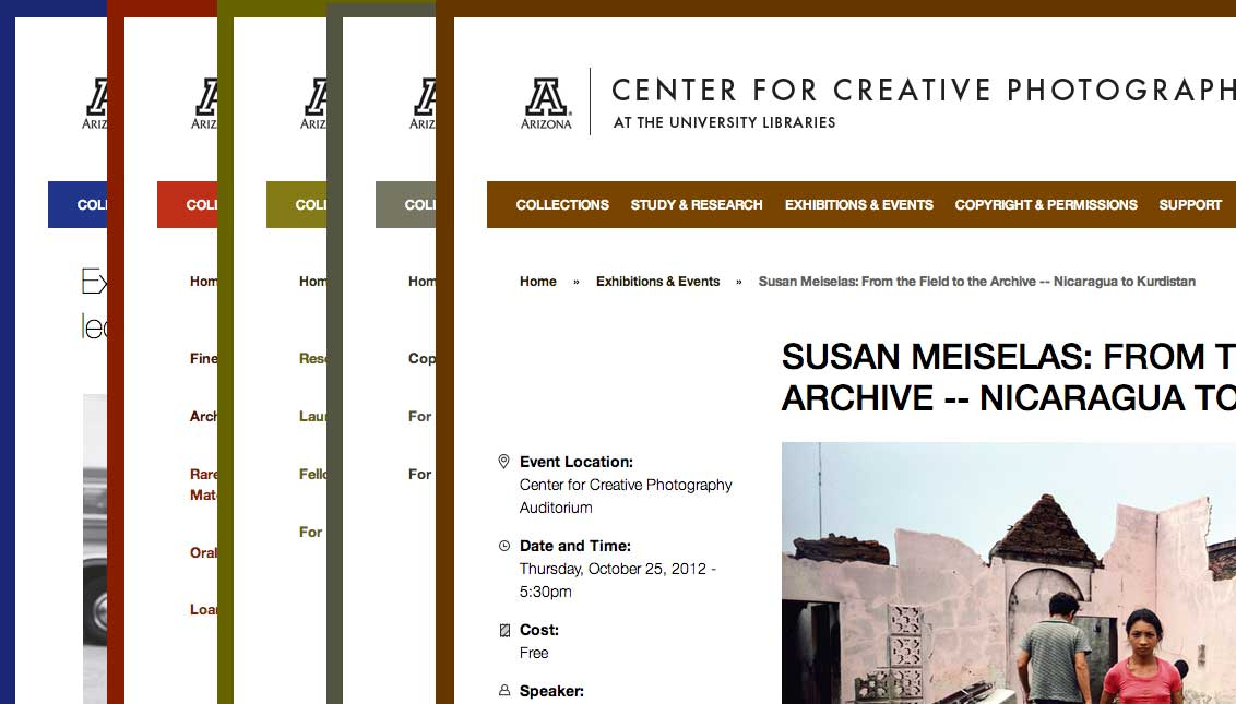 The design used the University's color palette to differ background, accent, and link colors on each main section of the website.